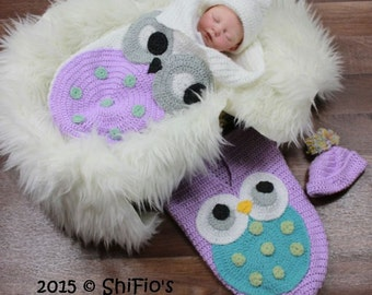 CROCHET PATTERN For Owl Baby Cocoon, Papoose & Hat in 3 Sizes U.K, U.S.A PDF 331 Digital Download