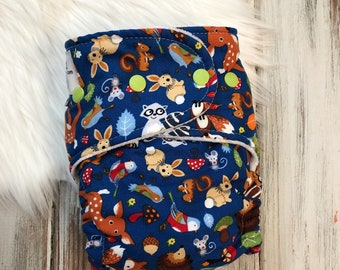 Fox Forest Deer Print Hybrid Fitted Cloth Diaper - Organic - Zorb - One Size OS - FDR Fold Down Rise - Soft and Trim