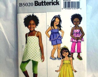 Butterick 5020 - girls strap dress, top, shorts and capris - Sizes 2-5
