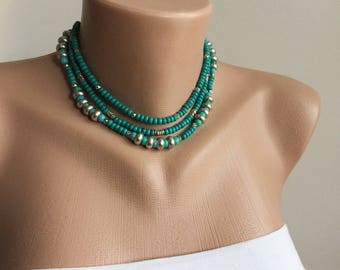 Turquoise Necklace,turquoise jewelry, chain necklace, turquoise necklace silver,turquoise, Christmas Gift, Outdoors Gift