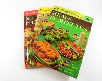 Vintage Better Homes & Gardens Cookbooks 3 Recipe Cook Book 1960s Retro Meals in Minutes Lunches and Brunches Foreign Flair Entertaining