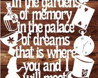 "Papercut Template Alice in Wonderland Style ""In the gardens..."" PDF JPEG"