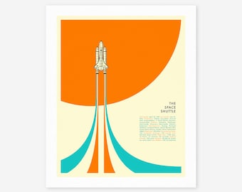 THE SPACE SHUTTLE (Giclée Fine Art Print/Photo Print/Poster Print) Minimal Nasa Pop Art