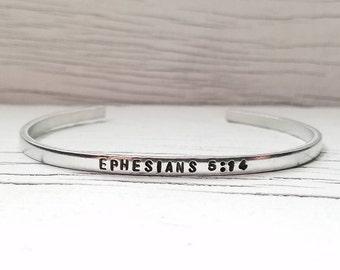 Bible verse bracelet, scripture bracelet, handstamped bracelet