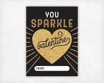 Printable Valentines, You Sparkle Valentine Cards, Instant Download Kids Valentine Cards, Gold Girls Valentines Day Card, School Valentines