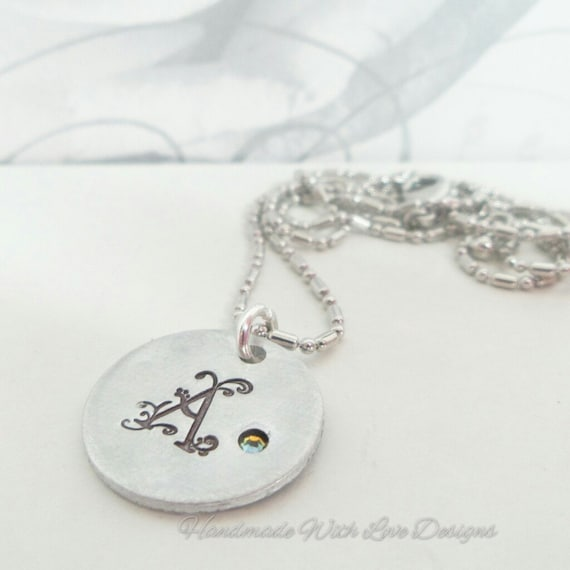 Monogram initial pendant necklace, with swarovski element, Name necklace, handstamped pendant with crystal,