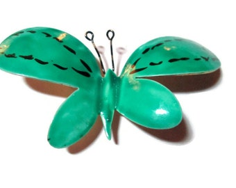 Turquoise  Butterfly Brooch Enameled Sandor 1950s Wedding Bouquet