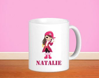 Pirate Kids Personalized Mug - Pirate Girl with Name, Child Personalized Ceramic or Poly Mug Gift