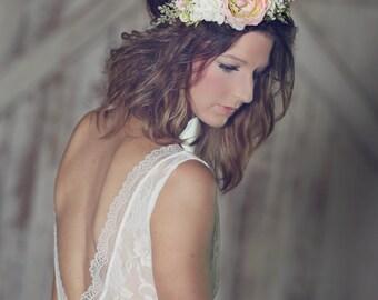 Spring Flower Crown - Bridal Flower Halo - Summer Wedding - Photo Prop - Wedding Crown - Floral Hairpiece - Bride