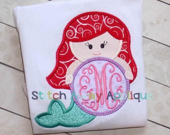 Mermaid Princess Monogram Circle Machine Applique Design