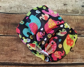 Side Snap Natural Cotton All in One Cloth Diaper Elephant Parade AIO PUL Small