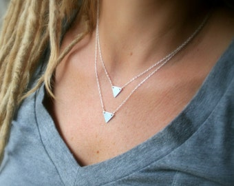 Tiny triangle sterling silver necklace - minimalist - geometric