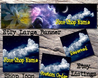 ETSY LARGE COVER Complete Set-Mystical Fantasy Cover Photo-Premade Fantasy Etsy Set-New Age Etsy-Etsy Large Cover-Moon Lilac, #102