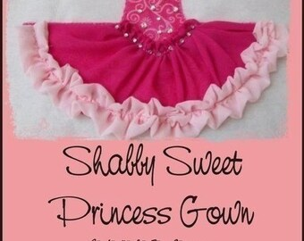 Princess Gown - Shabby Sweet Ruched Applique- Instant Email Delivery Download Machine embroidery design