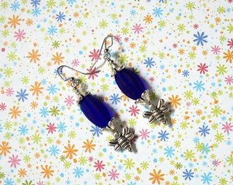 Cobalt Blue and Silver Bumble Bee Earrings (2335)