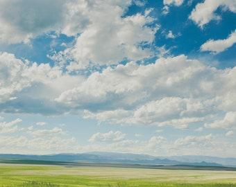 "landscape wall art, landscape art prints, landscape photography, clouds, summer, colorful, large art, large wall art - ""Silver Lining"""