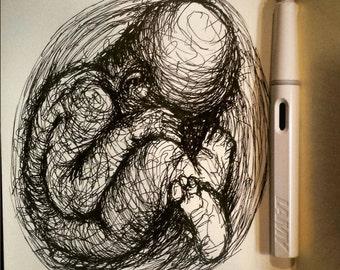 Original baby scribble drawing