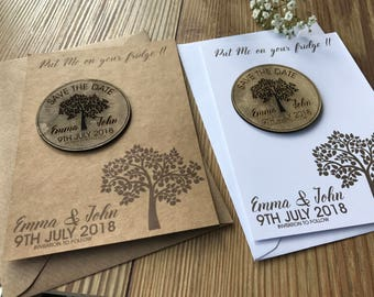 Tree design wooden fridge magnet save the date