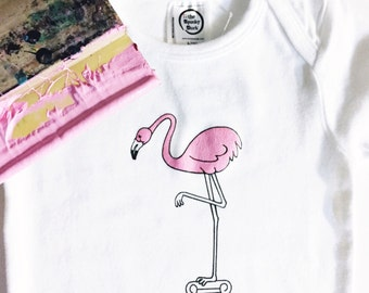 Pink Flamingo Organic Cotton Baby Bodysuit