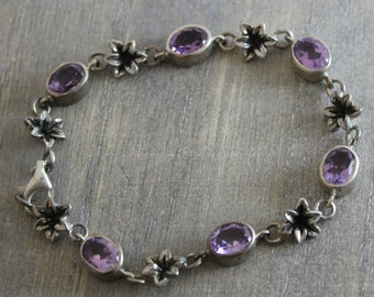 Amethyst  Flower Bracelet  -Silver Bracelet - Nature Jewelry - Vintage Jewelry - Silver Jewellery - Gifts for Her- Birthday Gift