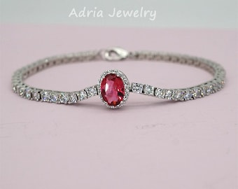 Red Crystal Bracelet Rhinestone Wedding Bracelet Ruby Red Bracelet Mother of Brides Jewelry Everyday Bracelet