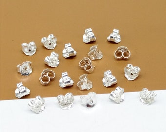 40 Sterling Silver Ear Nuts, Earring Backs, Earring backing, 925 Silver Earring Nuts, Wholesale Blanks - QY1274