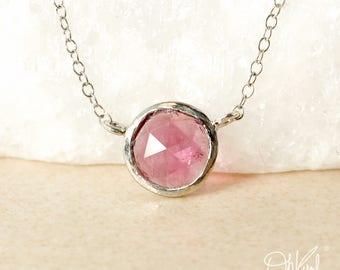 Round Pink Tourmaline Necklace - Connector Necklace - Sideway Pendant