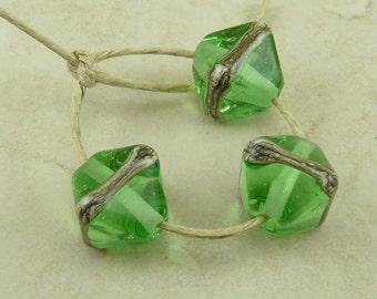 3 Wizard of Oz Green Glass Crystal Beads - Transparent Peridot Silvered Ivory Stripe -  Lampwork Bead Trio SRA - I ship Internationally
