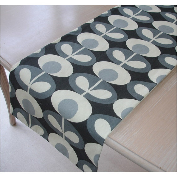 Oval Coffee Table Runner: Table Runner 48 Orla Kiely Oval Flower Cool Grey 4ft