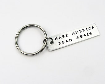 Librarian Keychain - Funny Gift for Book Worm, Reader, Teacher - Make America Read Again Key Ring