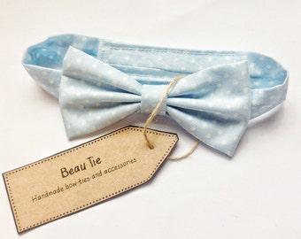 Baby boys bow tie, baby bow tie, light blue bow tie, polka dot bow tie, cotton bow tie