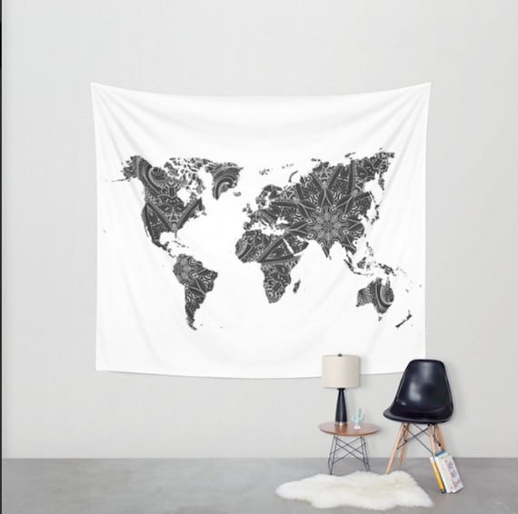 World map black and white mandala wall tapestry boho bohemian world map black and white mandala wall tapestry boho bohemian dorm room apartment home decor travel tapestries gumiabroncs Image collections