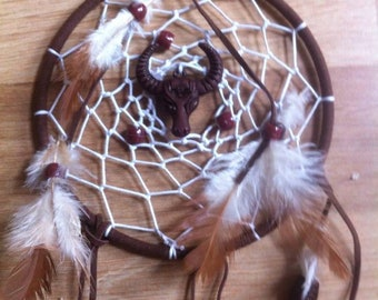 Native American Indian Style Buffalo Dream catcher Feathers Beads Skull spirit native american Dreams Skull Beads