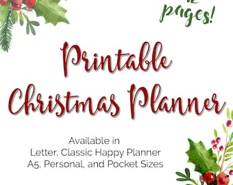 Christmas Holiday Planner Printable Inserts in Classic Happy Planner Size