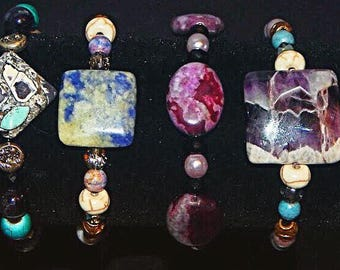 Gemstone assorted beaded bracelets - 15 each