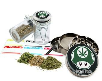 "High Life - 2.5"" Zinc Alloy Grinder & 75ml Locking Top Glass Jar Combo Gift Set Item # G50120915-9"