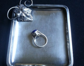 Mid century Danish silverplate tray, vintage made in Denmark, jewelry dish