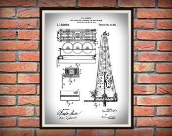 1916 Oil Drilling Rig Patent Print Invented by Howard Hughes - Art Print - Poster - Texas Oil Rig - Oil Baron Decor