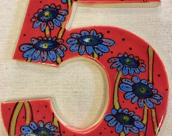 Red Custom Number Ceramic Handmade Mosaic Tile