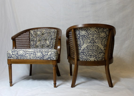- SOLD-Vintage Cane Barrel Chairs In Navy And White