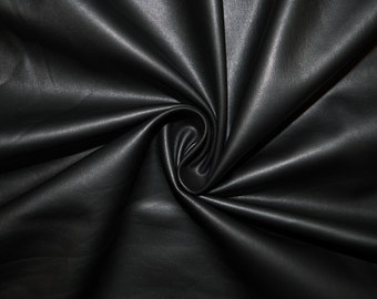 """Black Matte Pleather Faux Leather Stretch Vinyl Polyester Lycra Spandex Medium Weight Apparel Craft Fabric 58""""-60"""" Wide By The Yard"""