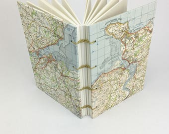 Travel Notebook, Wales Journal, Llandudno, Conway, Recycled Map Notebook, North Wales Map Journal, Walking Notebook, Gift for guys