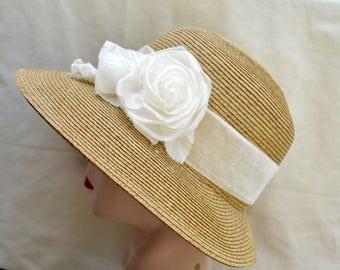Straw Sun Hat With Handmade Silk Roses / Lampshade Brim Sun Hat / Retro Inspired Womens Hat / Vegan Hat / Womens Hat / Downton Abbey Hat