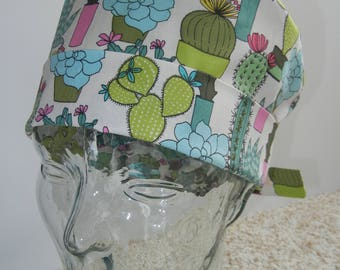 Tie Back Surgical Scrub Hat with Succulents Cactus Plants