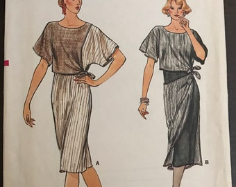 Vogue 8946 - 1980s Loose Fitting Dress with Contrast Over Bodice and Overskirt - Size 8 10 12