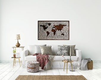 Large World Map String Art | Reverse String Art | Wanderlust | Map Wood Sign