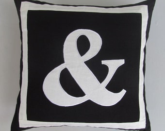 Ampersand(&) Black and off  white symbol   pillow.  cover 18 inch custom  made.