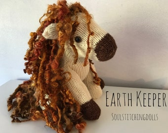 Earth Keeper a magical knit pony/unicorn (buyers choice for adding horn)