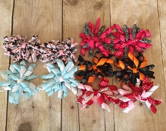Lot of 5 Pairs Sets of Korker Bows on Hair Clips