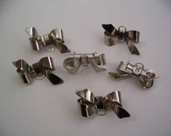 6 Vintage Bow Brooch Pins Jewelry Supplies